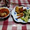 幸運な病のレシピ( 2516 )昼:揚げ物一式(鶏、ししゃも、椎茸ホタテ、かき揚げ)、モッツアレラチーズ入り煮込みハンバーグ