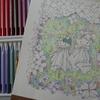 完成】クーピーペンシルでテルテル坊主のページが塗りあがりました☆大橋忍のカラーリングブックより