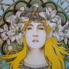 完成】クーピーでミュシャぬり絵『サラ・ベルナール』☆塗り過程メイキング