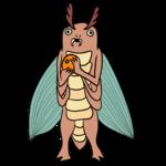 みかんを手にする虫 のイラスト