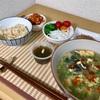 7/2 葱沢山の酸辣湯、玄米、納豆、野菜、もずく酢、鯖ビーンズ @減量めし