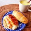 どんぐりのちくわパンと塩パン、コーンスープ。