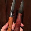 オピネルナイフとモーラナイフの柄をオイルフィニッシュ。木材の手触りを残しつつしっかり防水♪