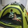 室内テントでごはん、寝る。非日常で楽しいのと同時に、ある訓練にも?!