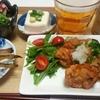 鶏の唐揚げおろしぽん酢などで晩酌