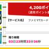 【ハピタス】ファミマTカードが期間限定4,200pt(4,200円)! ショッピング条件なし! さらに最大4,000ポイントプレゼントキャンペーンも! 年会費無料!
