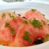 三田の「コートドール」でホウボウのカリカリ焼き エシャレットバターソース、ムール貝の白ワイン蒸し、柑橘茶に泳ぐ白桃他。