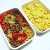 合挽き肉とパプリカのチャプチェ、さつまいもとハムのエジプト塩ポテトサラダ。