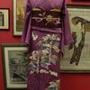 紫色地兎と植物色留袖×臙脂色地ざくろ刺繍繻子名古屋帯