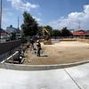 こども園の正門改修工事ほぼ完成
