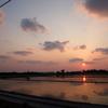 田んぼに沈む夕日、まる富でゆんたく。