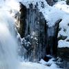 愛媛県久万高原町 雪の遅越の滝と畑野川
