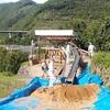 「慎太郎砂像」土台作り終了。