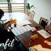 レッスンレポート)6/8本川町教室 靴下編みに夢中のおふたりです。