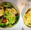 鶏唐揚げ、ポテトサラダ、厚揚げブロッコリー野菜炒め