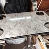 ロケバン小リフォーム・一本脚テーブル設置/自作 バンコン キャンピングカー