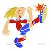 ゴールへ勢いよくシュートを放つサッカー選手