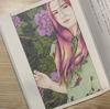 個性的な髪色に塗ってみた『美人画ぬりえ』和と洋のコラボな雰囲気に