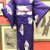紫地モダン柄夏着物×矢羽根に百合仕立て上がり絽名古屋帯