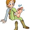 靴の踵、外側からすり減る
