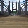 大阪府民が初めて訪れる府民の森で日本最大級のつり橋を渡る。