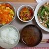 人参と卵のひらひら炒め、豆腐と小松菜の中華風炒め