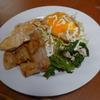 幸運な病のレシピ( 778 )昼:「豚バラソテー、鳥ムネソテー、目玉焼き」でワンディッシュ+春菊の胡麻和えと味噌汁