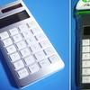 セリアのアルミフレーム電卓。