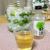 梅シロップを見つめながら梅酒を飲む
