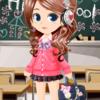 ゲーム「恋してキャバ嬢」のアバター♪ピンクカーデの学生服編