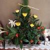 正月のお花&ミスドの紙袋。