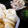 揚げ餃子、ポテトサラダ、スープ