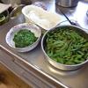 幸運な病のレシピ( 1448 )夜:モロヘイヤ、大根おろし、枝豆(固くて後にゆで直し)、汁、後に焼き肉