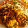 ✴︎鮟鱇と白豆とダンデライオン(たんぽぽ)葉のスパイス煮込み(覚書き)、大根、ラディッシュ、オレンジパプリカ、ベビールッコラ+赤ワインビネガーのサラダ