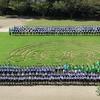 芝生アートの写真撮影をしました・高学年 体力テストや合同体育に向けて