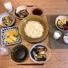 はんだ麺、なすと豚バラの味噌炒め、しらす入り卵焼き、ズッキーニのしょうゆおかか炒め