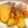 ジャーマンポテト、豚肉もやしピーマン、鯖味噌、桜海老玉子焼き、ちくわ天