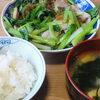今日の食べ物 朝食に豚肉と小松菜の炒め物
