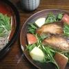 ぶっかけ水菜蕎麦、ブリ酒醤油漬け(甘くない)