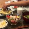 とうもろこしごはん、ちくわのマヨチーズ焼き、きゅうりと豚肉炒め、ニラ玉汁、(大人)アボカドとトマトと玉ねぎのサラダ