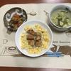照焼きチキン丼、ナス炒め、ニラスープ