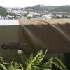 台風の影響で風が強いので日よけを丸めました