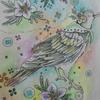 完成】透明水彩で鳥とボタンのページ・塗り過程です☆大橋忍のCOLORING BOOKより