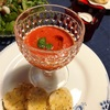 簡単!トマトの冷製スープ、手抜き付け合わせ、ドレッシングだけど、夫と二人おうちディナー