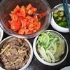 しぐれ煮、トマトポン酢、白菜漬け、味噌汁