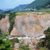 立野峡谷、地震後ー磐流キャンプ場