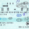 JR東海  沼津駅指定席券売機発行 乗車券 9<途中下車印収集>