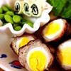 うずらの卵の肉巻き、海苔巻きチーズと胡麻おかかおにぎり