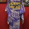 青紫暈し桔梗単衣小紋×黄色繻子地花の丸名古屋帯