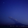 桜島の噴火と星空です。